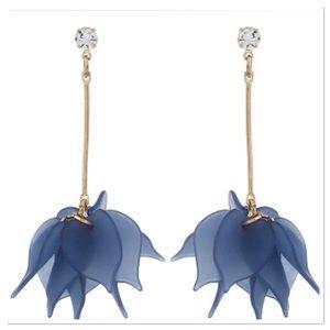 Flower Petal Drop Earrings-Blue